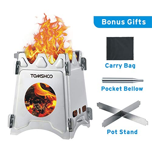 TOMSHOO Camping Wood Stove Portable Folding Lightweight Stainless Steel Wood