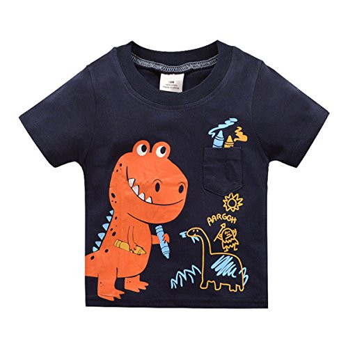 Baby Boys Summer Cotton Dinosaur Short Sleeve T-shirt Little Kids Crewneck Tops (2)