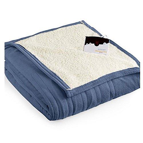 Biddeford 2060-9052140-500 MicroPlush Sherpa Electric Heated Blanket Twin Denim