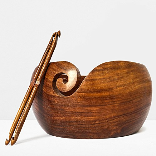 "Premium Wooden Yarn Bowl Large 8""X4"" Rosewood and 2 Crochet Hooks Bundle - Crochet Yarn Bowl - Perfect Yarn Holder Bowl for Knitting and Crocheting, Handmade from Sheesham Wood -Heavy & Sturdy by YARN STORY"