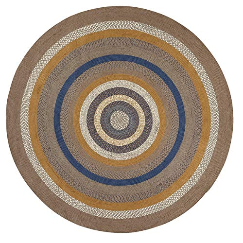 VHC Brands Classic Country Rustic & Lodge Flooring - Riverstone Grey Round Jute Rug, 8' Diameter