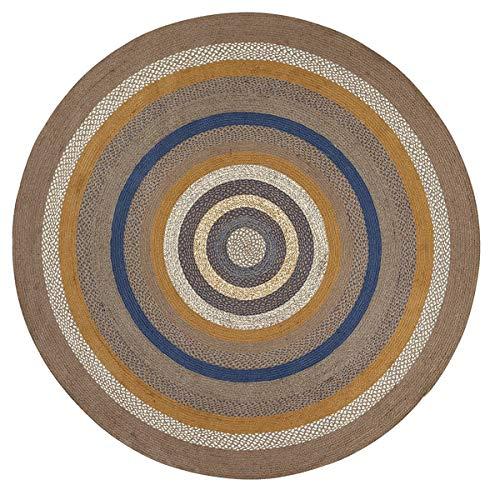 Copper Round Rug - VHC Brands Classic Country Rustic & Lodge Flooring - Riverstone Grey Round Jute Rug, 8' Diameter