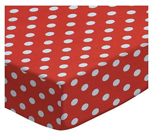 SheetWorld Extra Deep Fitted Portable / Mini Crib Sheet - Primary Polka Dots Red Woven - Made In USA