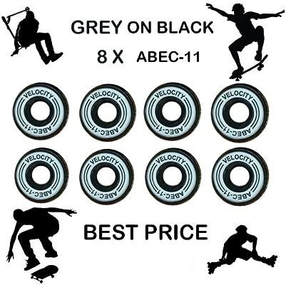 Velocity premium óxido negro abec 11 Rodamientos x 8 blanco ...