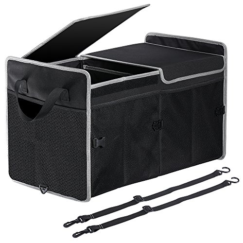 Famistar Large Car Trunk Organizer, Collapsible Expandable Cargo Storage Container for SUV,Car,Truck,Van,RV,Home,Camping,with Anti-Slip Bottom&Cover ()