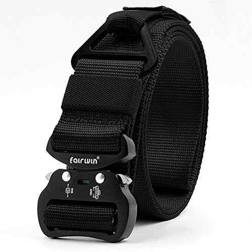 Fairwin Tactical Rigger Belt, Nylon Webbing Belt with Quick-Release Buckle Brown