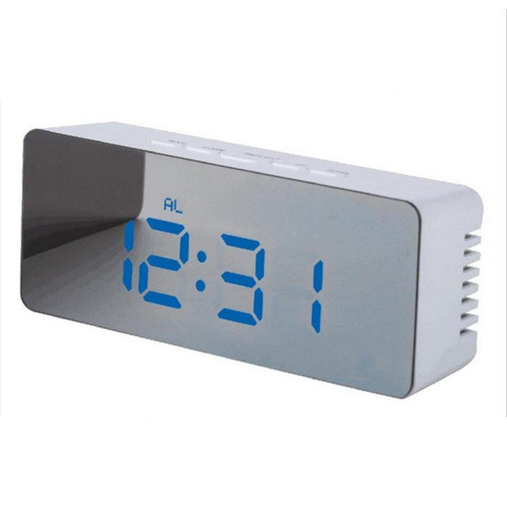 EDTara USB Multifunktions Kabel Digital Wecker LED Nachtlicht Thermometer Display Spiegel Lampe Rectangular Blue Light
