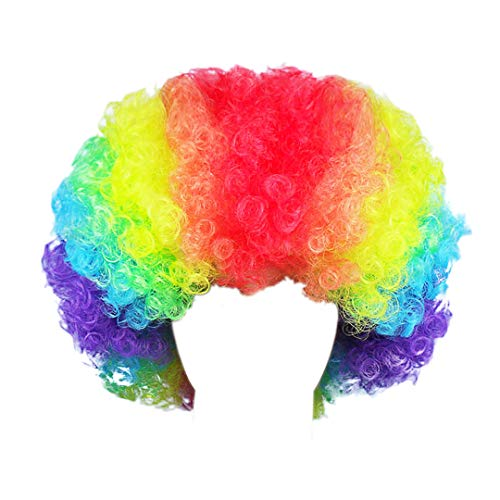 Novia's Choice Unisex Afro Curly Clown Party 70s Disco Wig Halloween Costumes Football Fan Cosplay Wigs(Rainbow 1) -