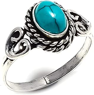 Best Gift! Handmade Jewellery! Blue Turquoise Silver Plated 3 Grams Ring 7 US