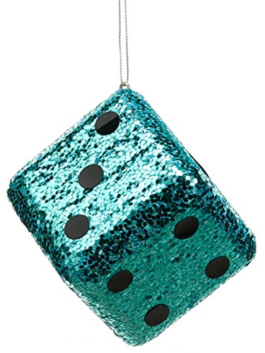 Allstate Casino Royale Shiny Turquoise Blue Glitter Gambling Dice Christmas Ornament, 4