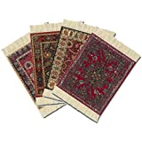 Lextra (4-Pc Assorted Coasterrug: Metropolitan Museum of Art), Coasterrug, Assorted Colors, 5.5 x 3.5 Inches, Set of Four (CRA-MO1)