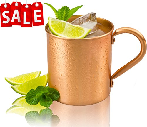 Gear Ultimate Moscow Mule Pure Copper Mug: 100% Solid Copper Cup, 16 Ounces, No Inner Linings, Perfect for Russian Moscow Mules, Cocktail and Cold Drinks, with Quick Cocktail Recipe Ebook
