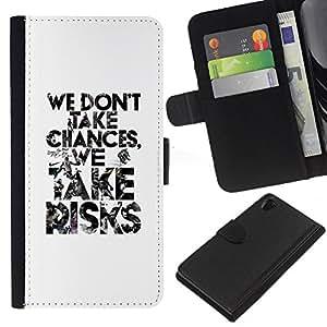 KingStore / Leather Etui en cuir / Sony Xperia Z2 D6502 / Blanc prendre des risques Inspiring