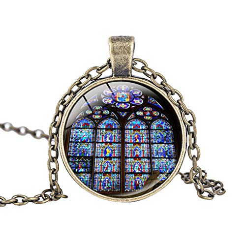 Binory Rose Window Stained Glass de Paris Cathedral Pendant Necklace Souvenir,Creative Fashion Clothing Accessory for Mother's Day Valentine Gift(I)