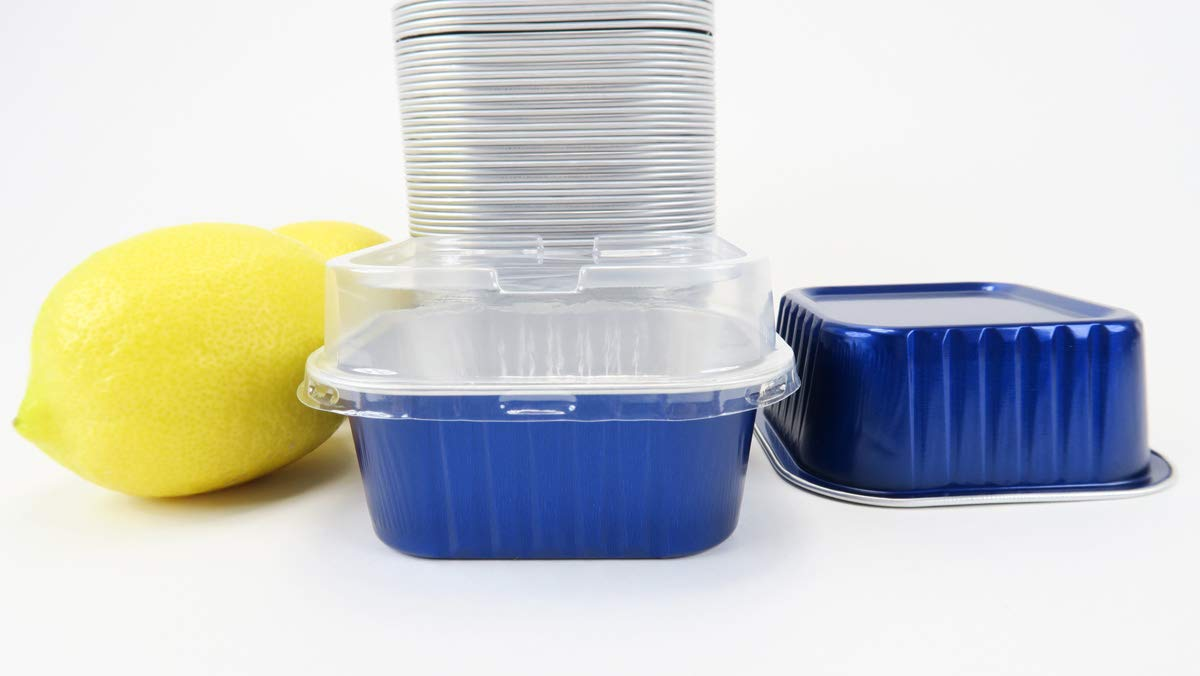 KitchenDance Disposable Colored Aluminum 6 Ounce Square Cake pan- Dessert Pan-Individual Size #A31 (Blue with Lids, 100)