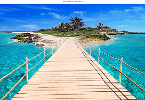 WindowPix 36x24 Inch Decorative Static Cling Window Film Boardwalk to Island Paradise . Printed on Clear for Window Glass panels. UV protection, Energy Saving. by Windowpix