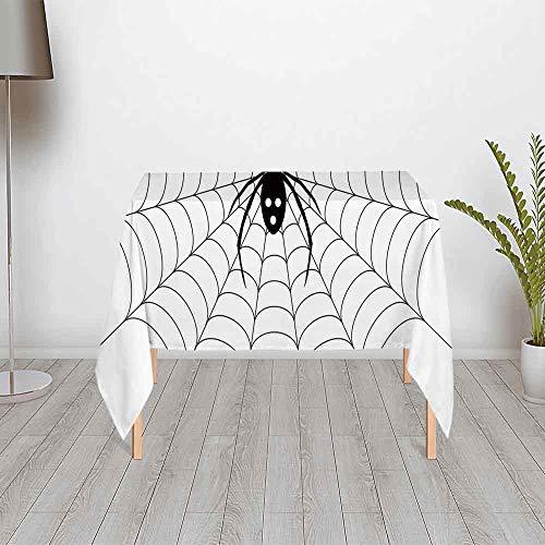 Spider Web Stain & Wrinkle Resistant Satin Tablecloth,Poisonous Bug Venom Thread Circular Cobweb Arachnid Cartoon Halloween Icon Decorative for Secretaire Square Table Office Table,55.12''W x 55.12'']()