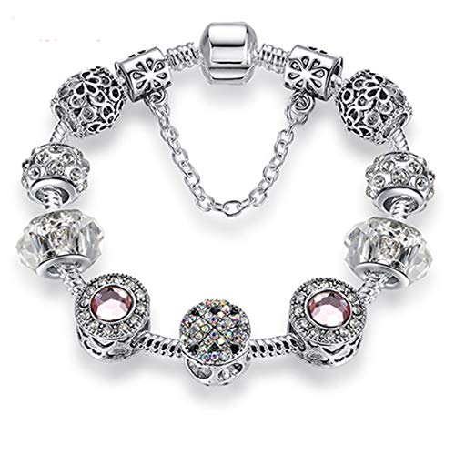Original Silver 925 Crystal Four Leaf Clover Bracelet with Clear Murano Glass Beads Charm Bracelet Bangle for Women DIY Jewelry PS3729 18cm