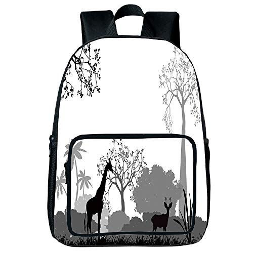Polychromatic Optional Square Front Bag Backpack,Tree,Bullfinches on Trees in Winter City Park Snow Cold Weather Immigrant Birds Design,Grey White,for Children,Comfortable Design.15.7