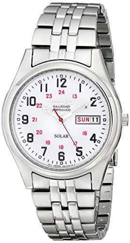 Seiko Men's SNE045 Solar White Dial Watch (White Dial Polished)
