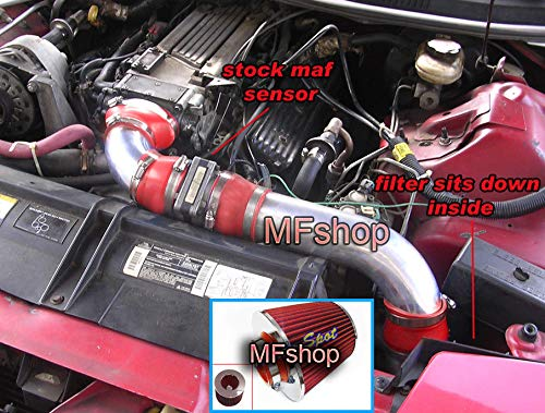 - 3 pcs Design Cold Air Intake Filter System works with 1994 1995 1996 1997 Chevy Camaro Z28 & Pontiac Firebird with 5.7L Engine (Red Filter & Accessories)