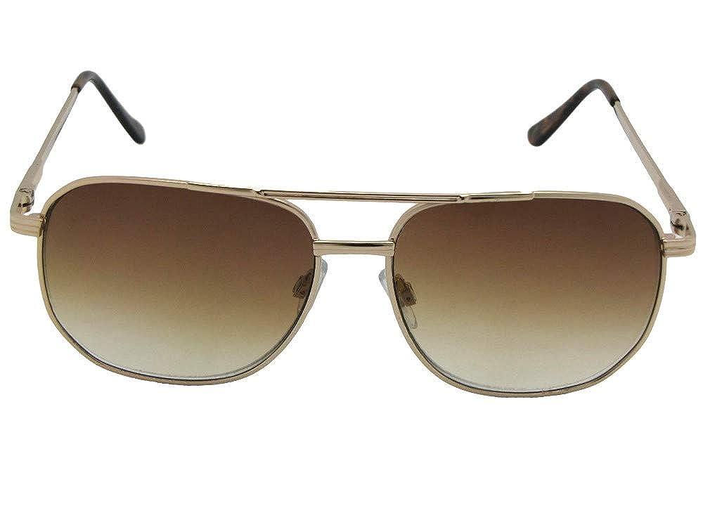 87239a25d8fb7 Amazon.com  Square Aviator Metal Frame Non Polarized Reader Sunglasses  Style R21 (Gold Frame-Brown Lenses