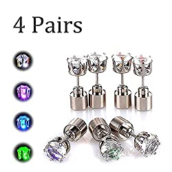 4 Pairs LED Studs Stainless Steel Earrings
