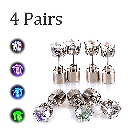 AYAMAYA LED Light Up Earrings, [4 Pairs] Light up Glowing LED Earrings Studs Party Dress Up for Halloween Kids Men/Women/Girlfriend/Boyfriend/Him/Her Dad Fathers Day, (Green+Blue+Purple+White)
