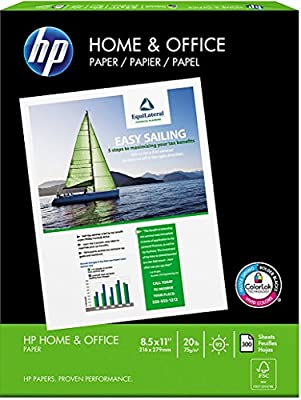 HP Multipurpose Copy/Laser/Inkjet Paper, Home & Office, 92 Brightness, 20 lb, Letter Size (8.5 x 11), 300 Sheets (200310)