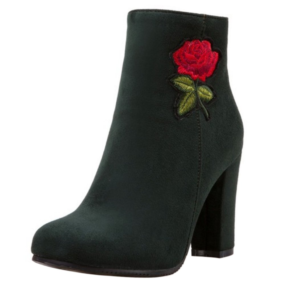 RAZAMAZA Damen Mode Fitted Floral Embroidered Chunky Heel Ankle Boots Green