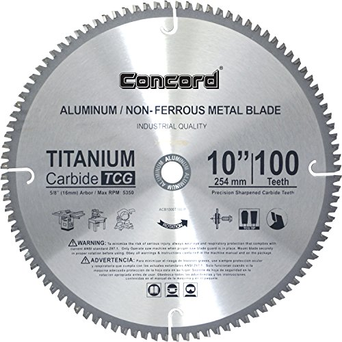 Concord Blades ACB1000T100HP 10-Inch 100 Teeth TCT Non-Ferrous Metal Saw Blade Carbide Tooth Thin Kerf Wood