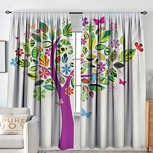 - Petpany Blackout Valances for Girls Bedroom Tree of Life,Ornate Vibrant Floral Tree Flying Butterflies Fresh Colors Nature Image Home,Multicolor,Rod Pocket Curtains for Big Windows 84