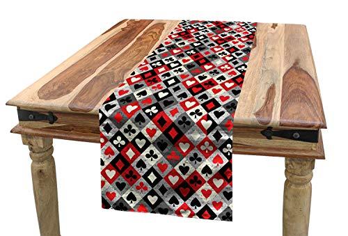 - Lunarable Casino Table Runner, Checkered Rhombus Pattern with Playing Card Grunge Display Gaming Club Theme, Dining Room Kitchen Rectangular Runner, 16