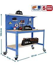 Banco de trabajo con ruedas BT3 Azul/Madera Simonrack 1555x1210x610 mms 280 Kgs de capacidad total al llevar ruedas