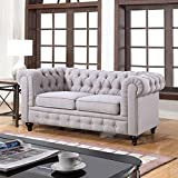 Classic Scroll Arm Chesterfield Style Loveseat (Stone Grey)