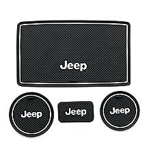 Moonet Heavy Duty Non-slip Interior door Cup Holder Mats Mat For Jeep Wrangler JK 2008-2015 4pcs white