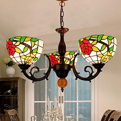 W&HH Rose Flower Tiffany Style Chandelier E27 Stained Glass Ceiling lamp Decorative Hanging lamp 3 Lights ()