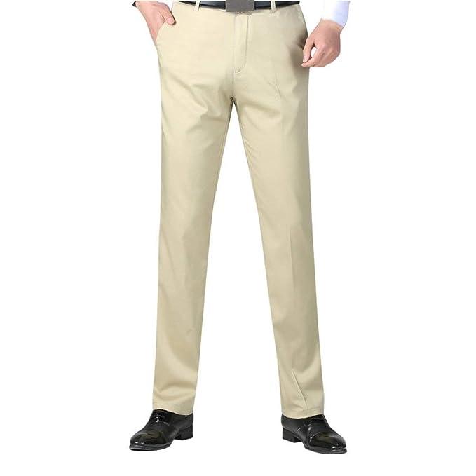 bbb7bb19d BoBoLily Pantalones De Traje Pantalones De Traje De Hombre De Negocios  Pantalones De Traje Formal Pantalones De Vestir De Color Sólido  Amazon.es   Ropa y ...