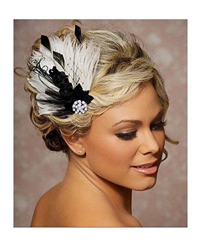Jelinda Women Fascinator Cosplay Wedding Bridal Peacock Feather Hair Clip Headpiece