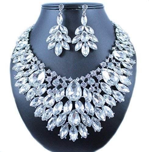 Janefashions TWINKLING AUSTRIAN RHINESTONE CRYSTAL BIB NECKLACE EARRINGS SET PROM N987 CLEAR