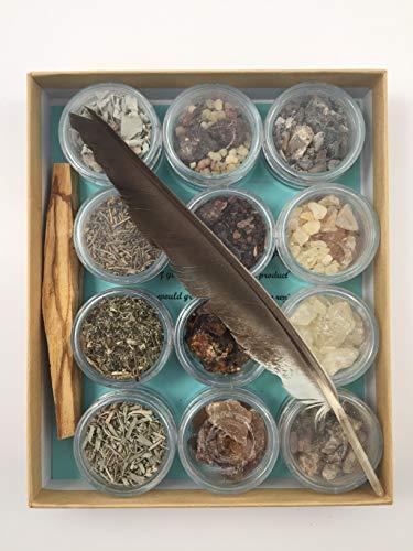 Sacred Scents For You Resin Incense Variety Sampler Gift Box Sage-White-Black-Desert-Shasta Copal-Gold-White-Peruvian-Mayan Myrrh-Select-Sweet-Peruvian-Frank & Myrrh ()
