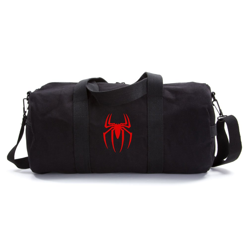 Spiderman Symbol Army Sport Heavyweight Canvas Duffel Bag in Black & Red, Medium