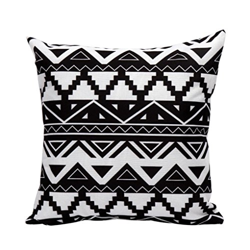 [Gotd Black and White Geometric Stripe Pattern Pillow Decorations Decor Square Linen Blend Christmas Pillow Case Throw Pillow Cushion Cover Home Decor 45cm 18inch] (Contact Lenses Costume)