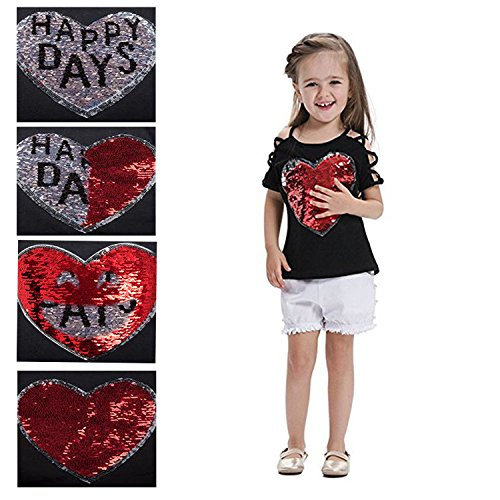 "VIPbuy Kid Girls' Short Sleeve T-Shirt Magic Reversible Sequins Letter Print Tee Tops (Height: 47.2""-51.2"", Black) by VIPbuy (Image #2)"