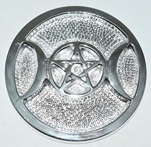 Pentacle Triple Moon Silver Plated Solid Brass Altar Tile 3