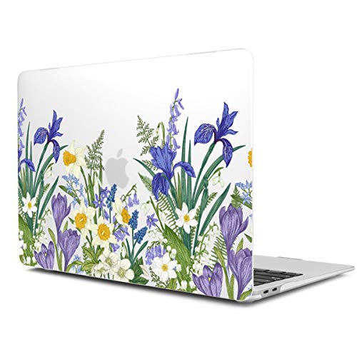 Dongke MacBook Pro 13 Inch Case with Retina Display Model A1425/A1502 2012-2015 Release 4in1 Set Screen Film + Trackpad Protector + Keyboard Cover (Meadow & Floral)