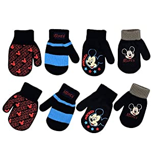 Disney Boys 4 Pack Mitten or Glove Set : Mickey Mouse, Cars Lighting McQueen (Age 2-7)