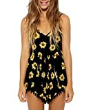 Moxeay® Women Vintage V Neck Straps Sunflower Print Jumpsuit (M)