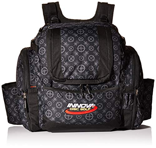 Innova Golf Disc Super Hero Backpack Bag, Black Pattern (Best Disc Golf Backpack)