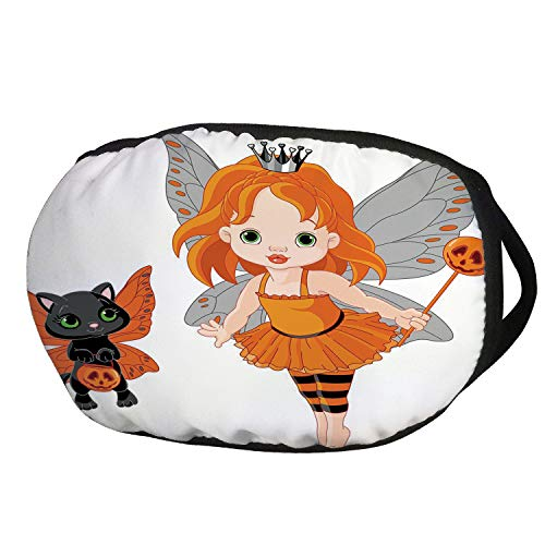 Fashion Cotton Antidust Face Mouth Mask,Halloween,Halloween Baby Fairy and Her Cat in Costumes Butterflies Girls Kids Room Decor Decorative,Multicolor,for women & -